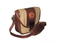 Camera Bag option 1 – leather and canvas combo, side view