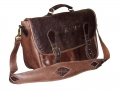 Buffalo teak leather and Glazed Ele teak leather combo - Double messenger bag with foiled initials