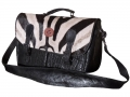 Messenger bag  double black Ele zebra fur tan