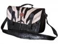 Messenger bag  double black Ele zebra fur tan
